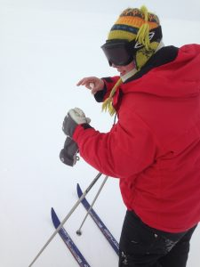 Anja tries to explain cross country skiing.