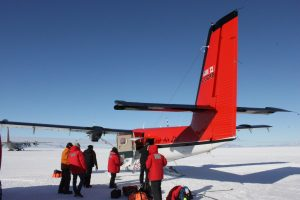 Getting ready to take off and reach our first station by Twin Otter.